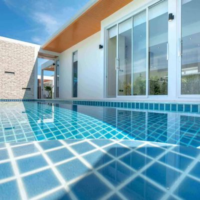 tiled pool with sunlight